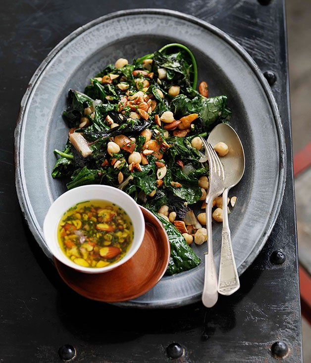 Autumn Greens and Beans, Smoked Almonds and Garlic
