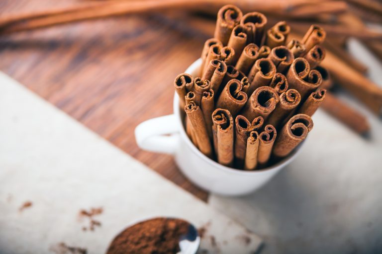Cinnamon sticks in a mug - Top view