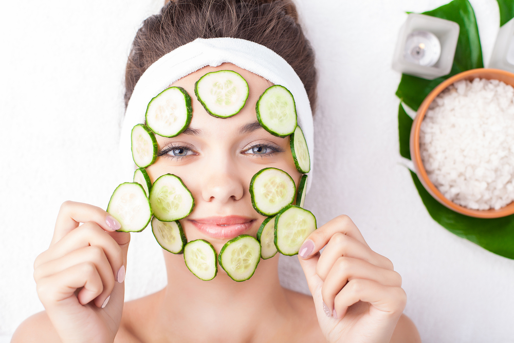 cucumber-on-girls-face