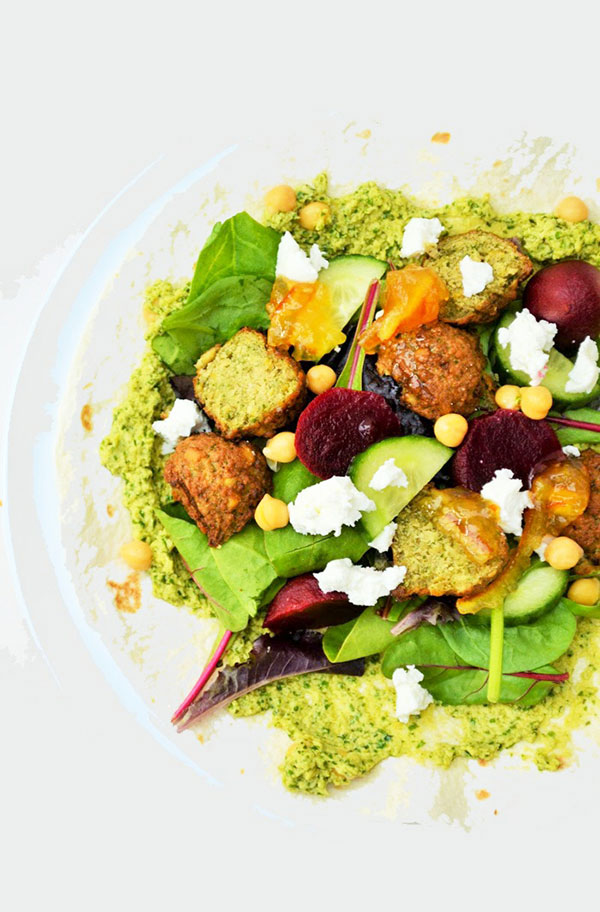 Beetroot, Falafel and Goats' Cheese Wraps
