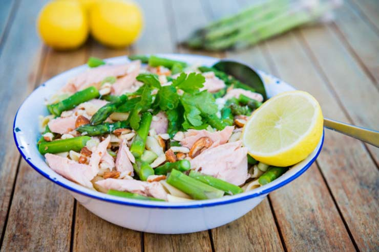 Smoked Trout, Asparagus & Almond Pasta Salad