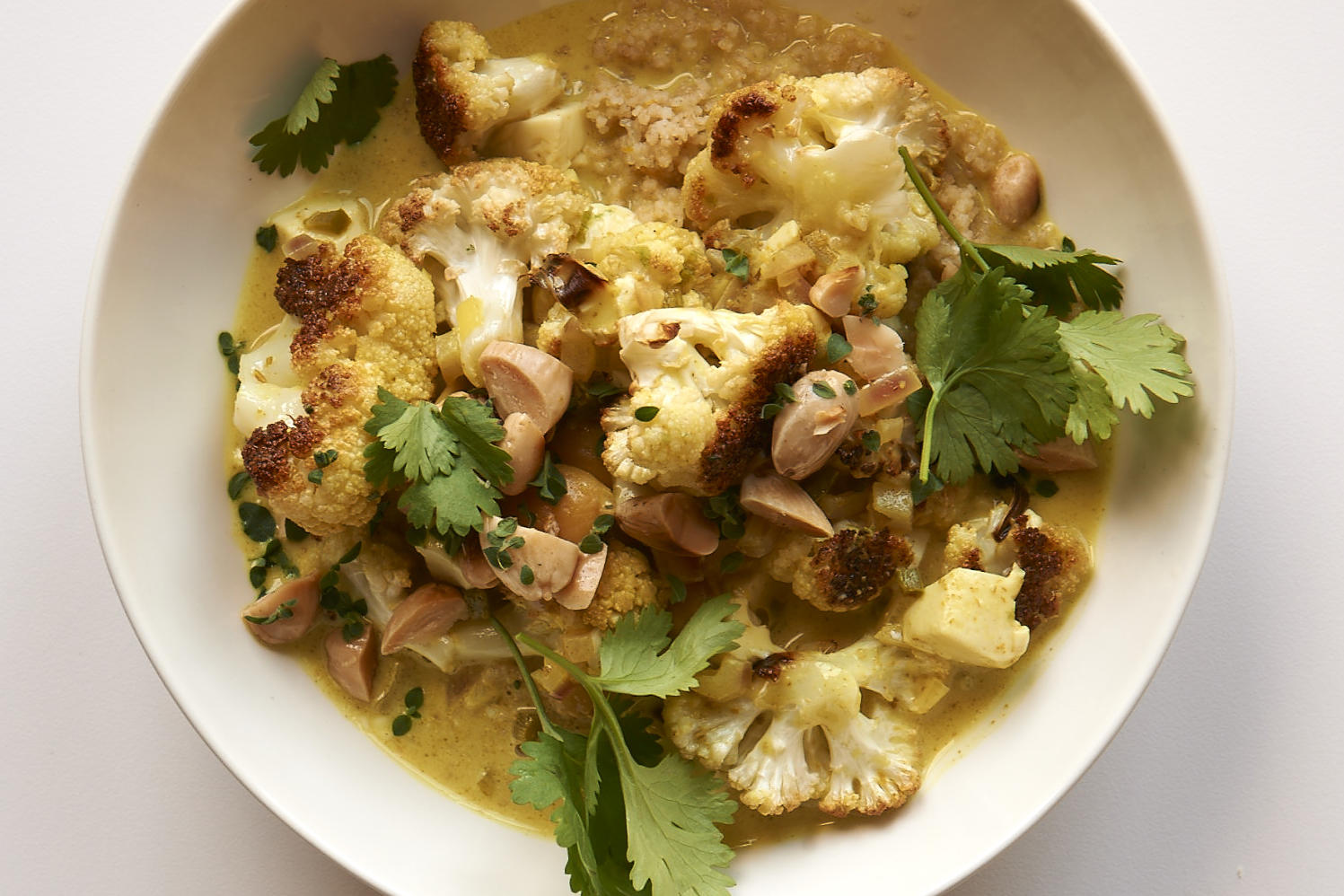 Cauliflower Coconut Stew with Almonds
