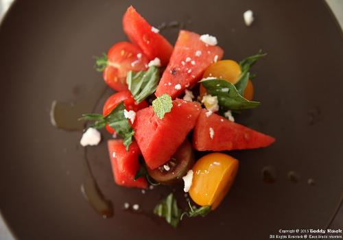 Tomato-Watermelon Salad with Almond Vinaigrette