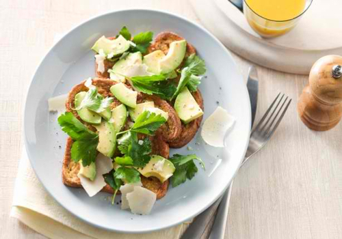 French Toast with Avocado & shaved Parmesan