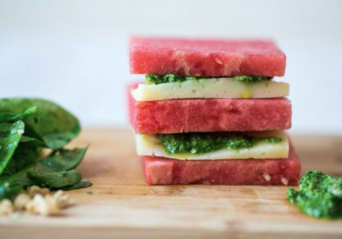 Watermelon and Manchego Stack with Arugula Pesto