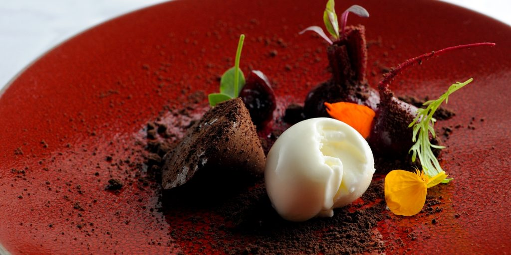 Chocolate Parfait with Beetroots, Yoghurt Ice Cream, and Chocolate soil