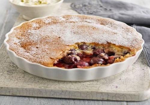 Cherry & Almond Sponge with Pistachio Crème Fraîche
