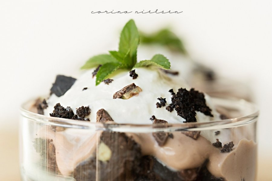 Thin Mint Almond Cake Parfaits