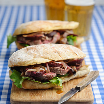Warm Steak & Beetroot sandwich with honey & mustard dressing