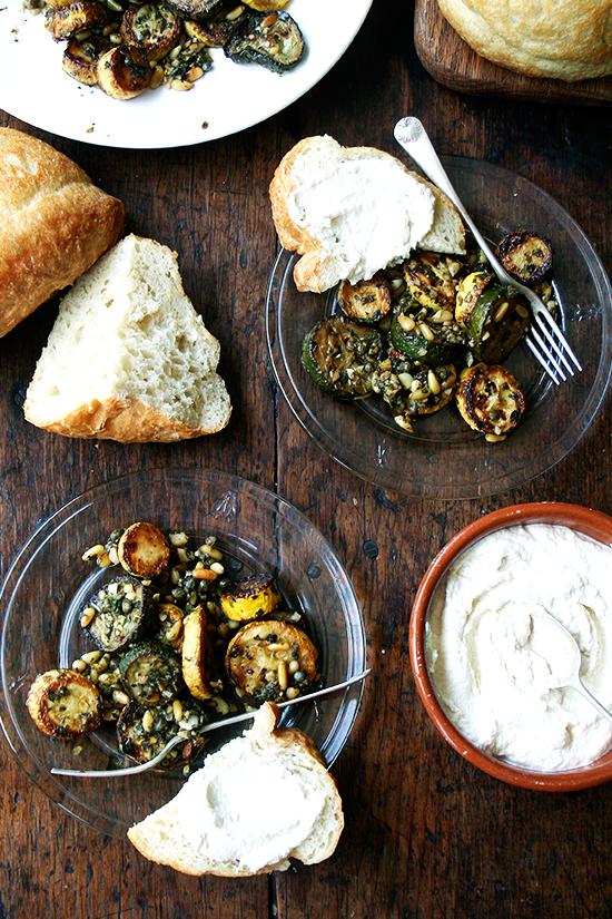 Sauteed Zucchini with Mint, Basil & Pine nuts