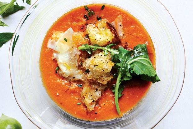 Tomato Soup with Arugula, Croutons and Pecorino