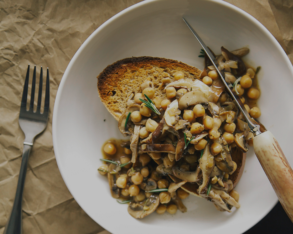 Rosemary Mushroom with Chickpea Ragout on Toast