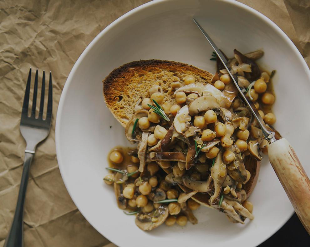 Rosemary Mushroom with Chickpea Ragout on Toast