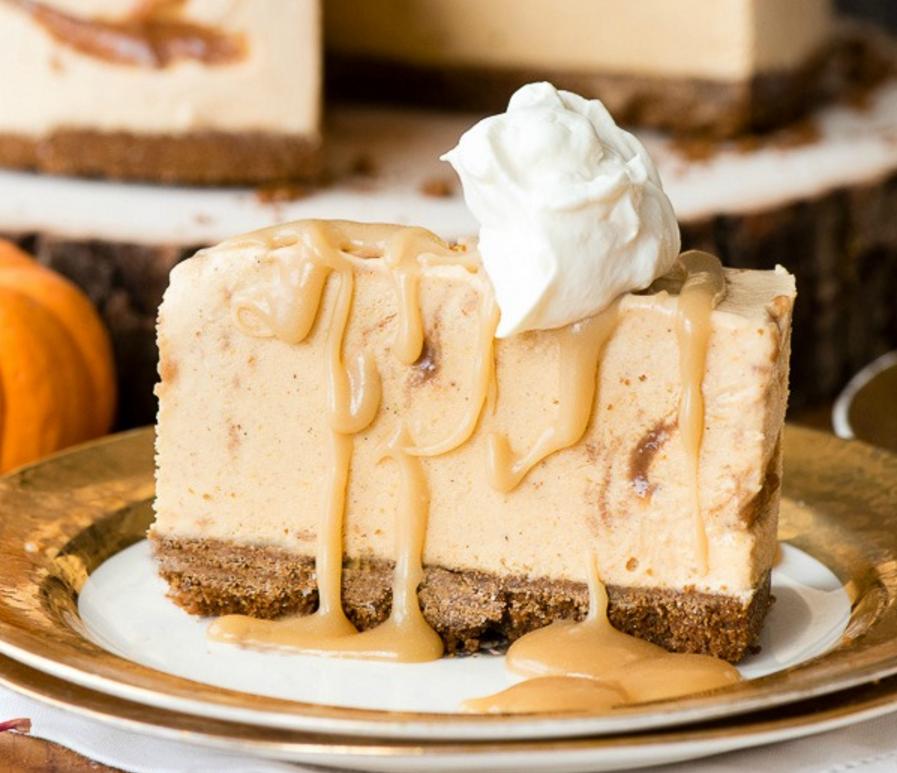 Pumpkin Cinnamon Ripple Ice Cream Pie with Salted Caramel Sauce