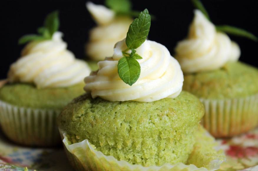 Cucumber and Mint Cupcakes with Rose Water Buttercream