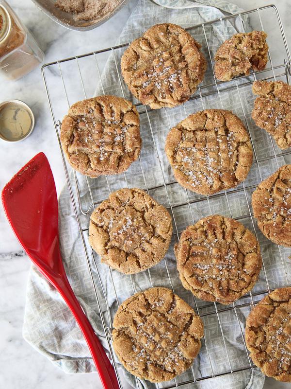 Flourless Chewy Cinnamon Sugar Peanut Butter Cookie