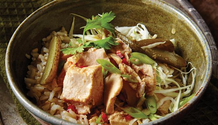 Thai Tuna Salad Bowl with Sweet Pickles and Lime-Chili Dressing