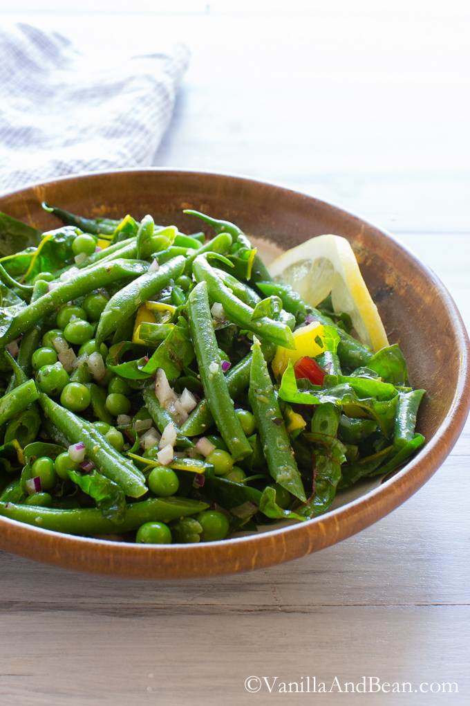Green Bean Salad with Peas, Chard and Dijon Tarragon Vinaigrette