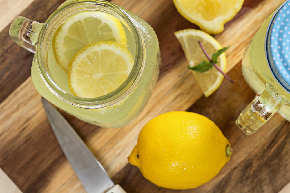honey-lemon-water-top-view