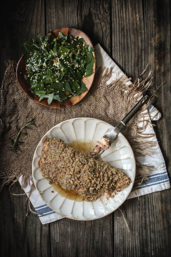 Baked Walnut & Rosemary Encrusted Salmon with a Sesame Ginger Kale & Quinoa