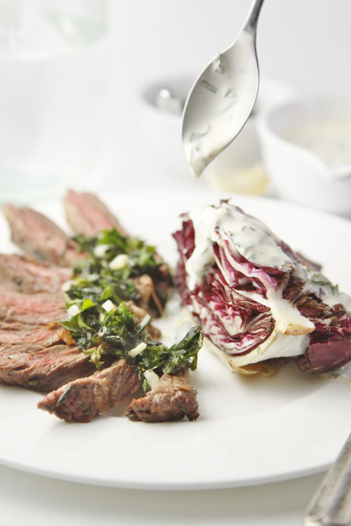 Italian Steak with Grilled Radicchio Salad