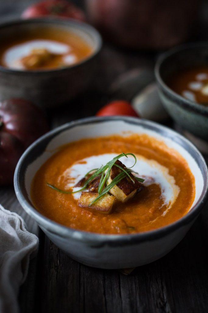 Roasted Tomato Soup with Haloumi Croutons, Yogurt & Sumac