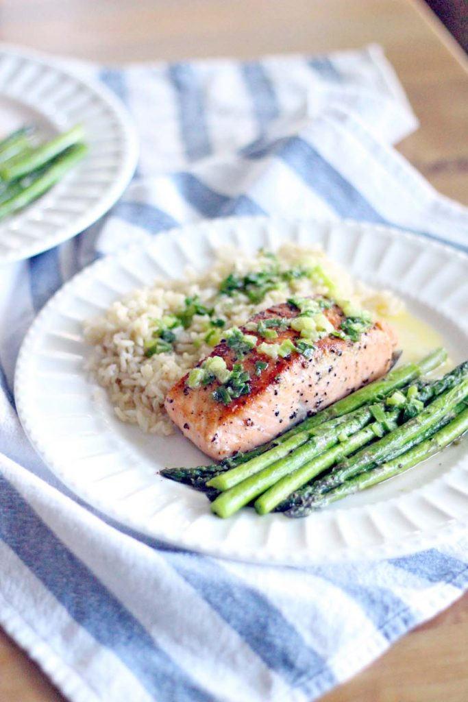 Seared Salmon with Scallion Butter
