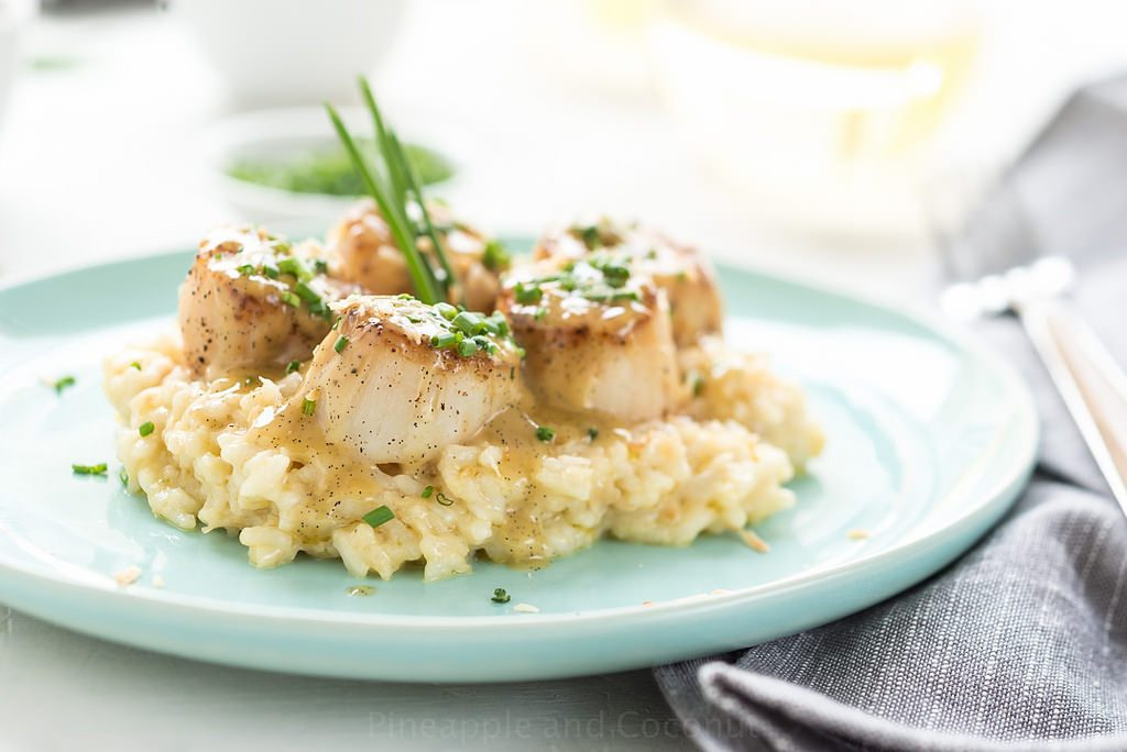 tahitian-vanilla-seared-scallops-with-lemon-coconut-risotto