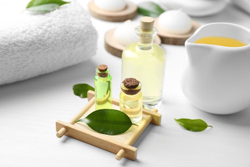 Tea Tree Oil on white background