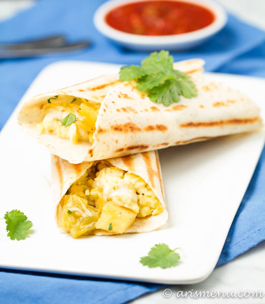 Chili Cheese Breakfast Burritos