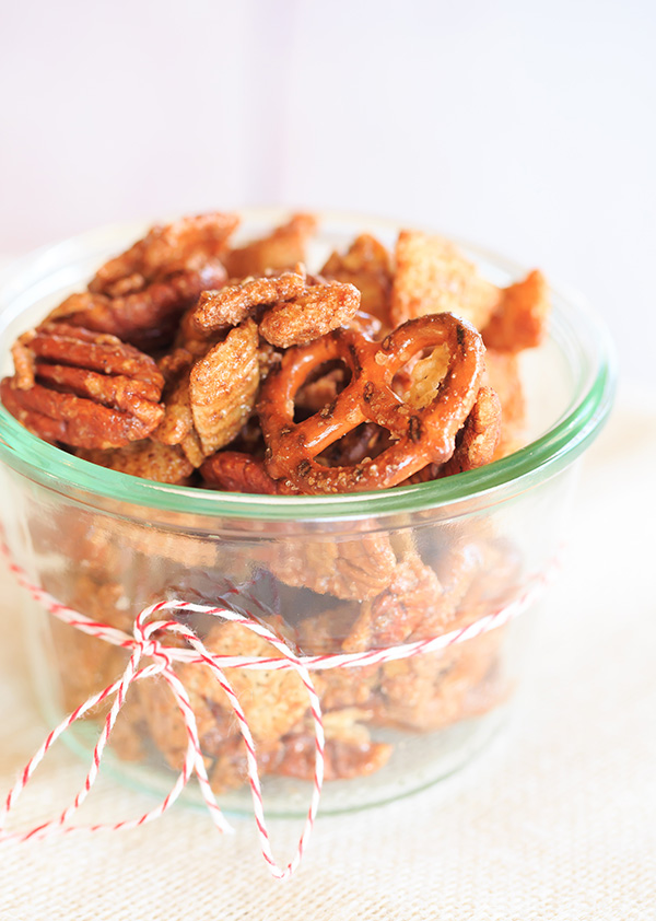 Cinnamon-Sugar Candied Chex Mix with Pecans and Pretzels