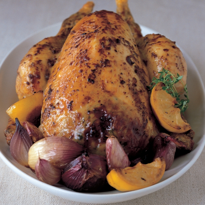Chicken with Roasted Lemons, Red Onion, Thyme and Garlic
