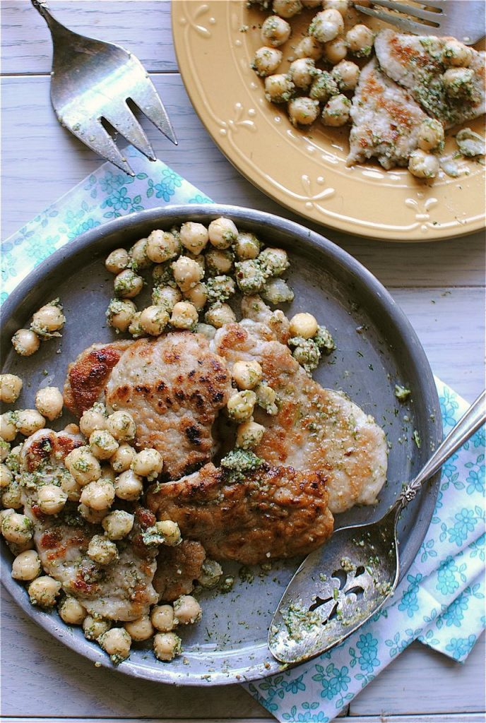 Pork Scallopini with Dill Peso and Chickpeas