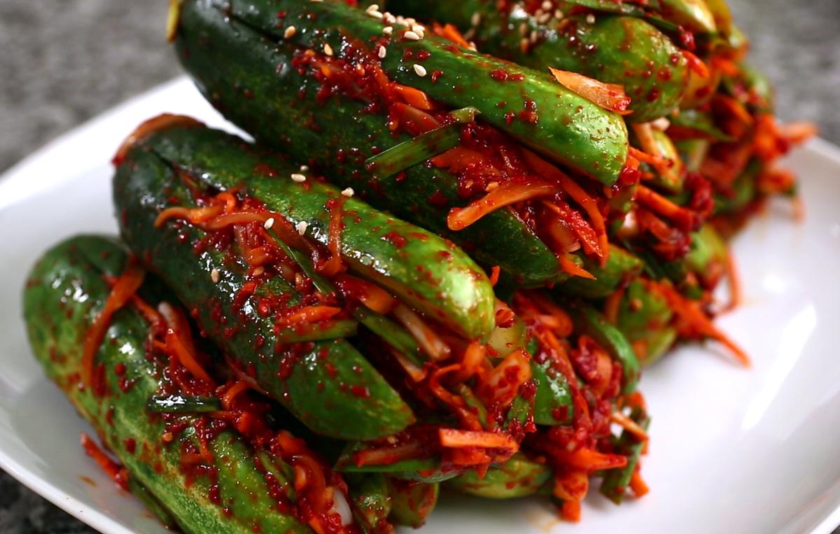 Spicy stuffed Cucumber Kimchi