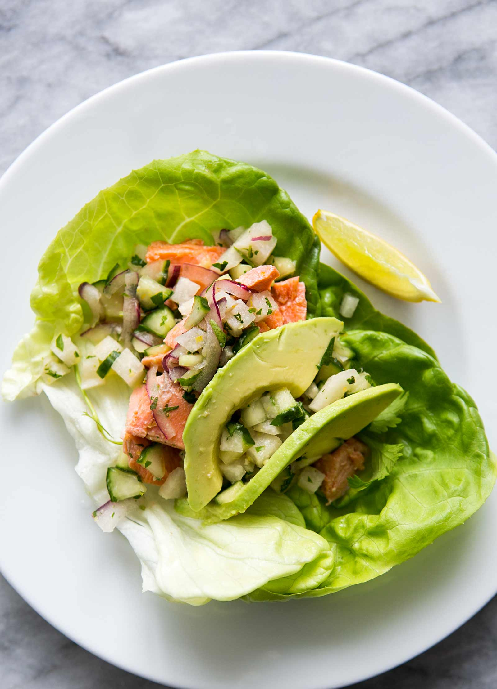 Salmon Lettuce Wraps with Cucumber, Jicama and Ginger
