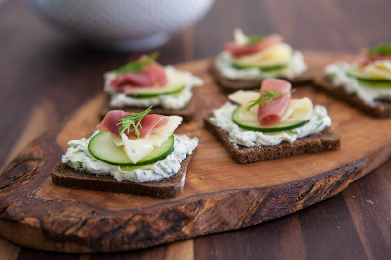 Prosciutto, Swiss and Cucumber Appetizer
