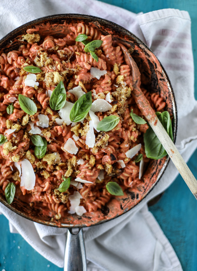 Tomato Cream Pasta with Grilled Cheese Crumbs