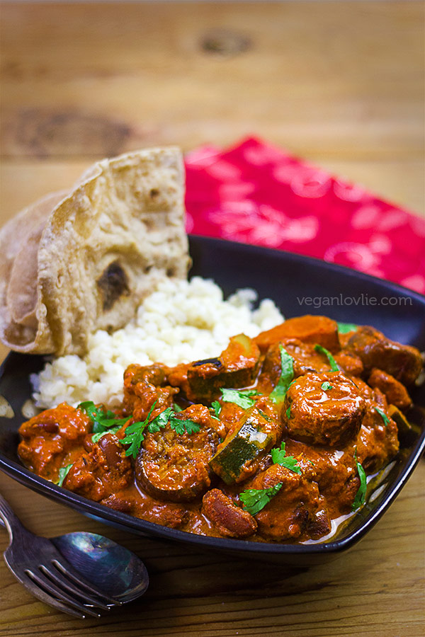 Vegan Tikka Masala Curry with Eggplant, Red Kidney Beans and Courgette