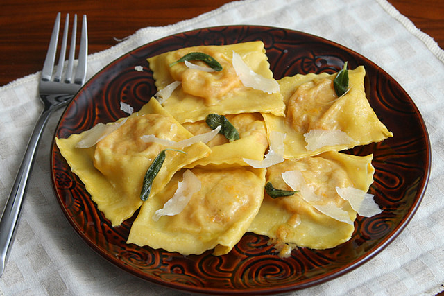 Butternut Squash and Goat Cheese Ravioli with Sage Browned Butter