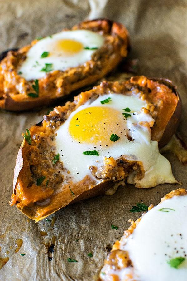 Breakfast Twice Baked Sweet Potatoes