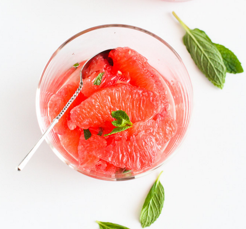 Pink Grapefruit with Honey Mint Syrup