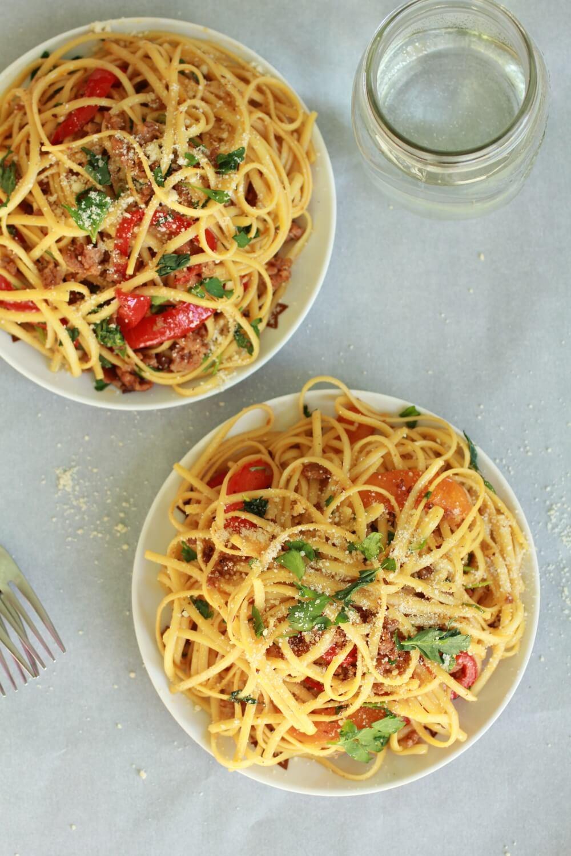Red Pepper Garlic Chicken Sausage Pasta