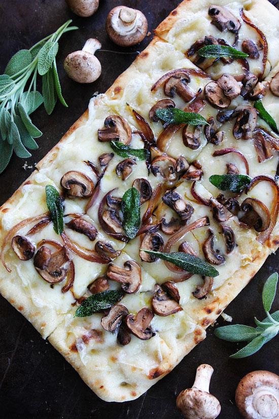 Mushroom Fontina Flatbread with Crispy Sage