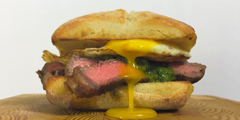 Steak And Egg Breakfast Sandwich