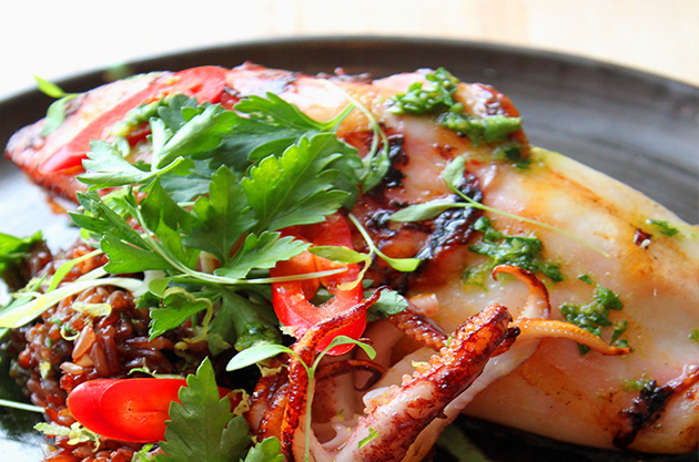 Whole Grilled Squid, Red Rice and Fresh Herbs
