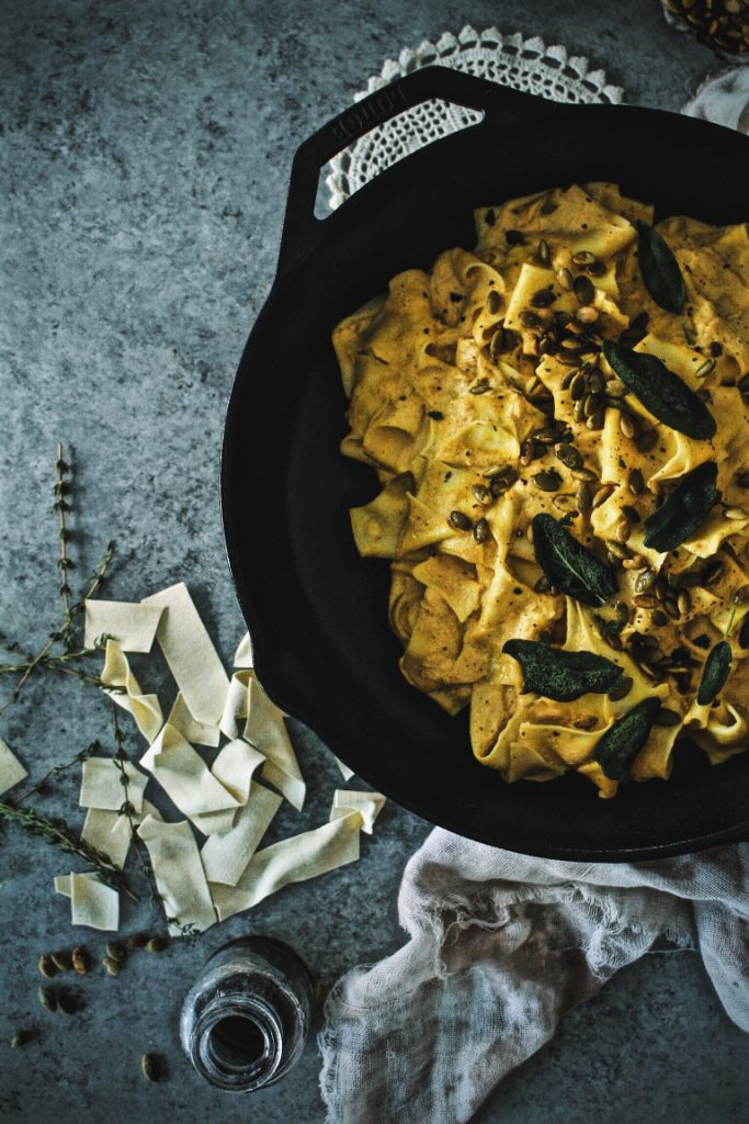 Truffled Pumpkin Pappardelle Alfredo with Frizzled Sage
