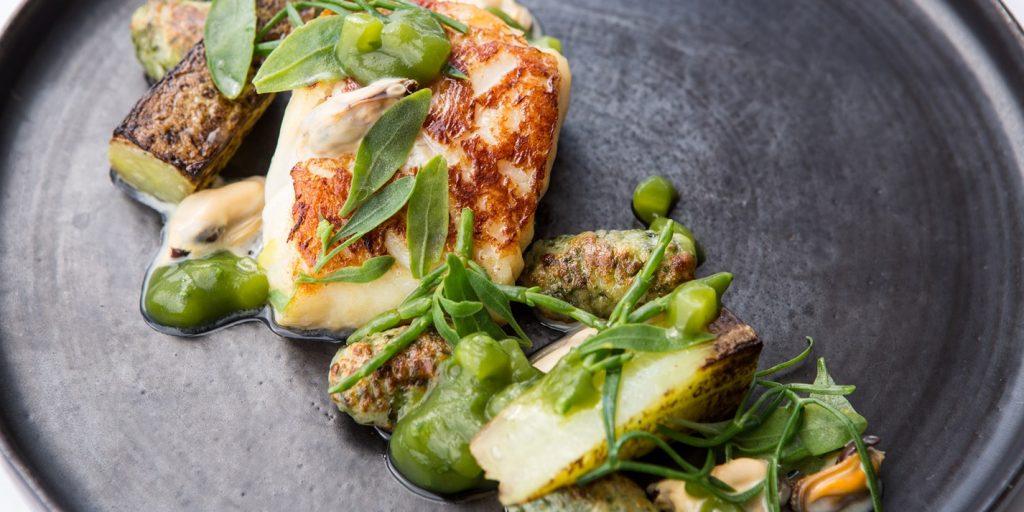 Lemongrass-smoked Cod, Mussels, Sea Vegetables, Cucumber Ketchup