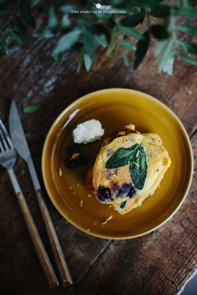 Corn Pancakes with Blueberries and Sage