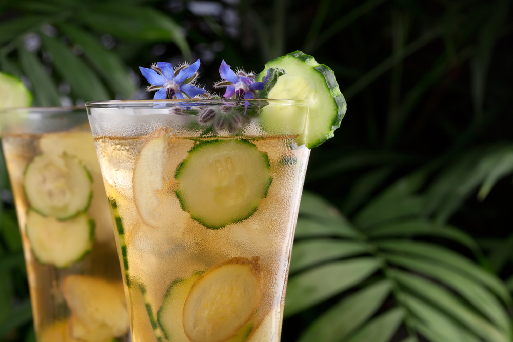 Cucumber Ginger Tea with Borage Flowers