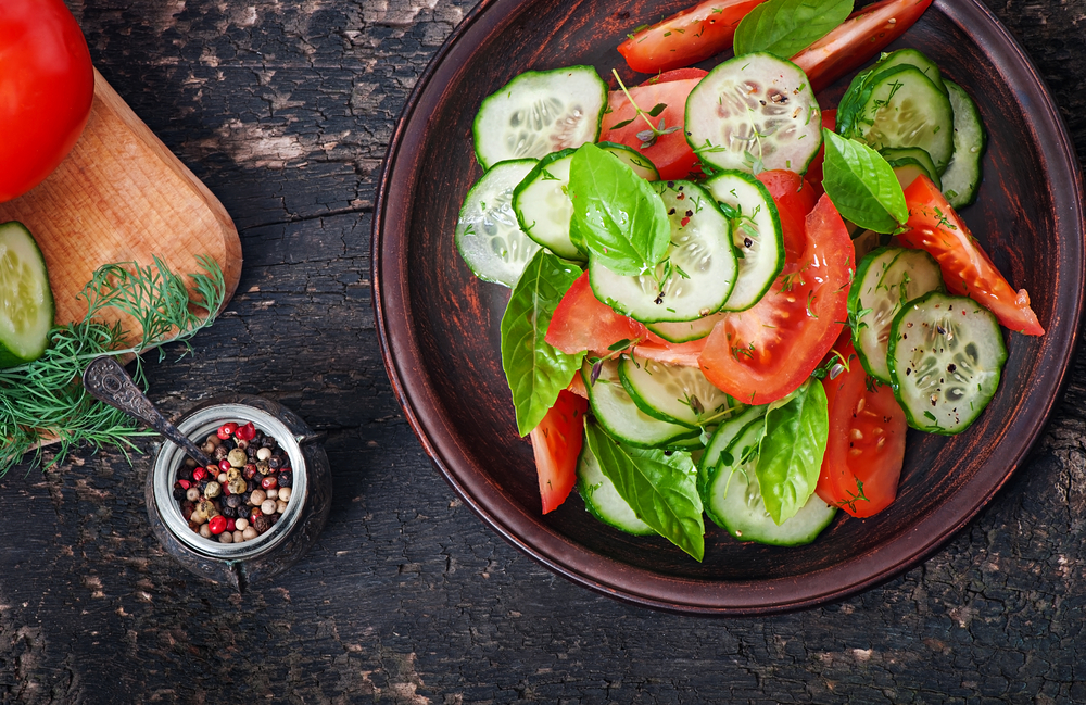 Healthy tomato and cucumber salad